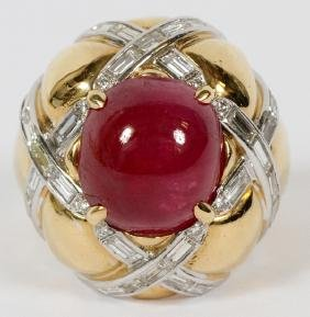 7 CT. CABOCHON RUBY RING W/ DIAMONDS