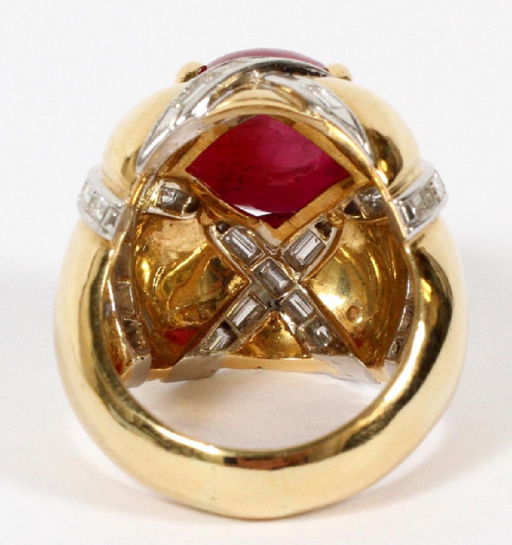 7 CT. CABOCHON RUBY RING W/ DIAMONDS - 3