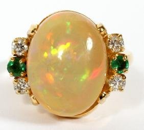 7.4 CT OPAL AND DIAMOND RING