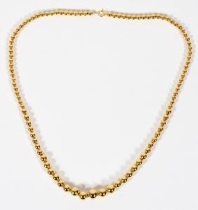 14KT YELLOW GOLD BEAD NECKLACE