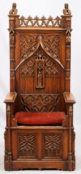 CARVED WALNUT PALACE THRONE CHAIR