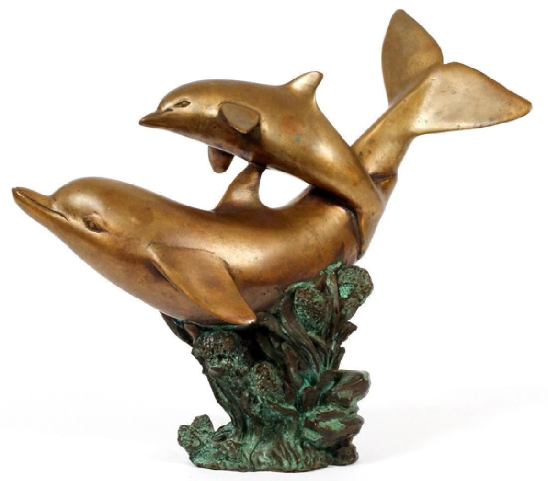 BRONZE SCULPTURE OF DOLPHINS 20TH C - 2