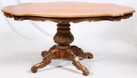 ENGLISH CARVED WALNUT PEDESTAL TABLE