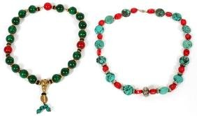 TURQUOISE AND CORAL NECKLACES 2 PCS.