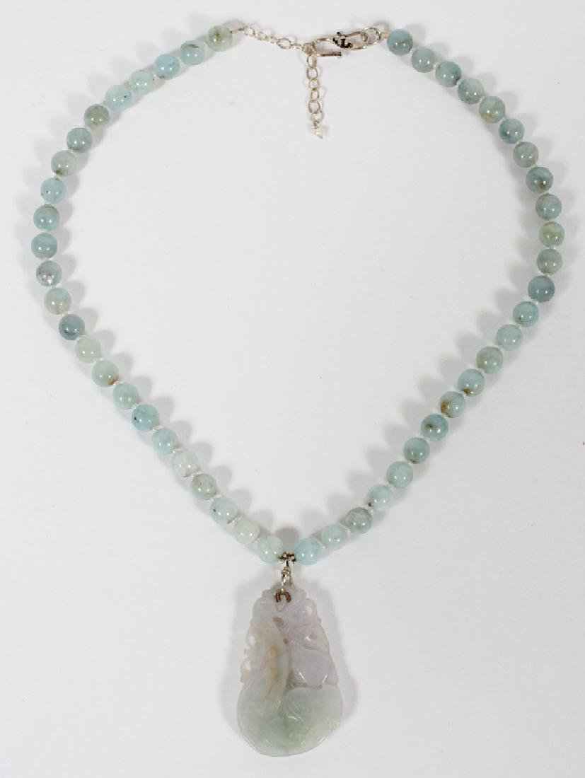 CHINESE LIGHT GRAY JADE PENDENT AND BEADED NECKLACE