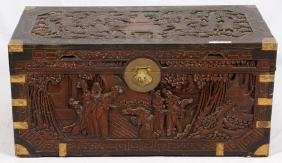 CHINESE CARVED TEAKWOOD BRASS CHEST