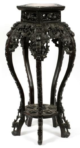 CHINESE OCTAGONAL TEAKWOOD AND MARBLE PLANT STAND
