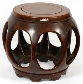 CHINESE SPHERICAL ROSEWOOD STOOL 20TH C