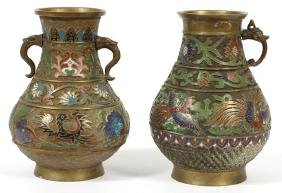 CHINESE DOUBLE HANDLED BRONZE AND ENAMEL VASES PAIR