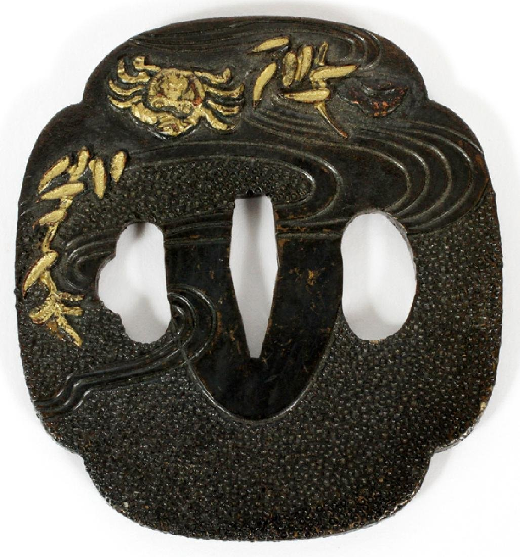 JAPANESE BRONZE AND GOLD DAMASCENE TSUBA C1900