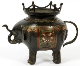 CHINESE ELEPHANT FORM BRONZE AND ENAMEL PLANTER