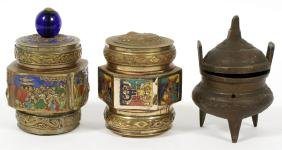 CHINESE ENAMEL ON BRONZE COVERED JARS AND INCENSE