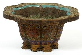 CHINESE FLORAL DESIGN ENAMEL & BRONZE PLANTER