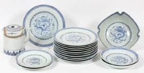 CHINESE DRAGON BLUE AND WHITE PORCELAIN DISHES