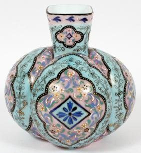 GOURD SHAPED WHITE GLASS AND ENAMEL VASE
