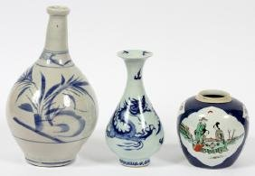 CHINESE POTTERY VASES AND A JAR 3 PCS.