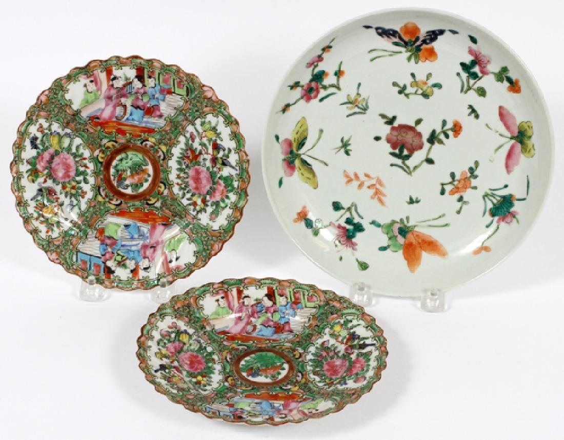 CHINESE ROSE MEDALLION PORCELAIN PLATES