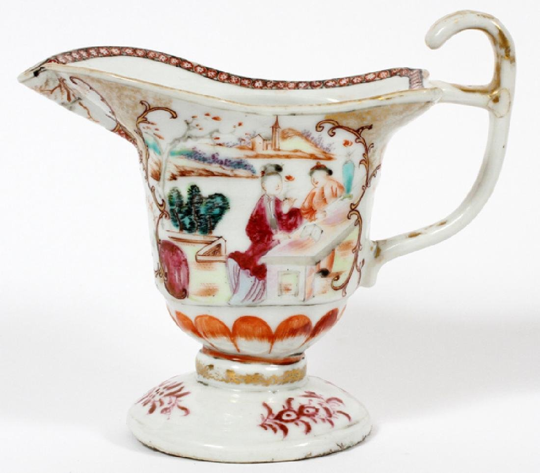 CHINESE EXPORT PORCELAIN HELMUT SHAPED CREAMER