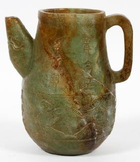 CHINESE CARVED GREEN SOAP STONE TEA POT