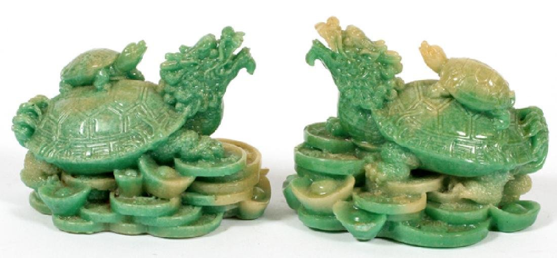 CHINESE TURTLE ON BACK OF TURTLE RESIN FIGURES PAIR