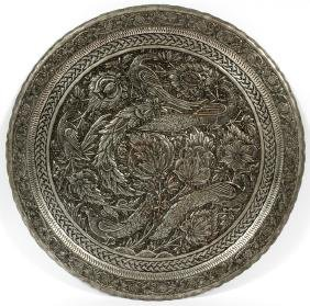 MIDDLE EASTERN ROUND PLATED METAL PLAQUE