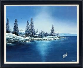 SIGNED ELTON OIL ON CANVAS NORTHERN LAKE SHORE