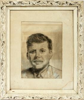 MARION G SMITH CHARCOAL DRAWING JOHN F KENNEDY 1964
