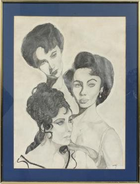 CMCI PENCIL IMAGES OF ELIZABETH TAYLOR