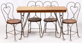 TWISTED IRON AND OAK PARLOR TABLE AND CHAIRS
