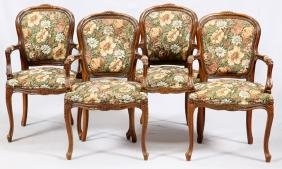 LOUIS XV STYLE CARVED WALNUT UPHOLSTERED ARMCHAIRS
