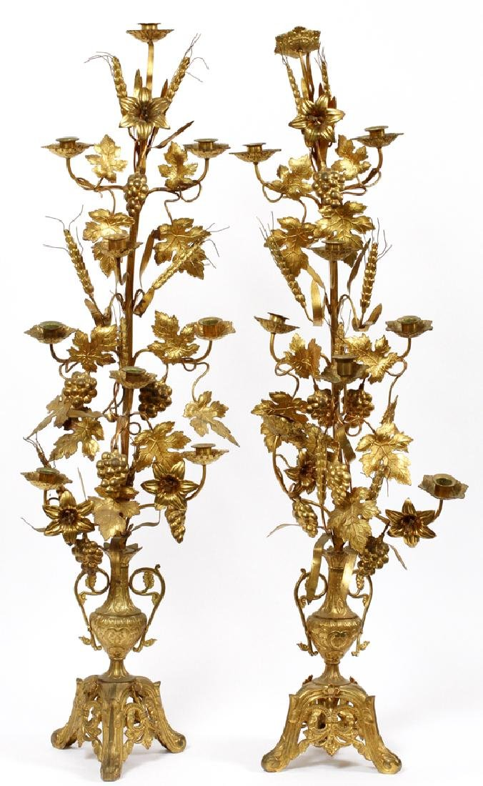 FRENCH GILT PATINATED METAL CANDLE TREES 19TH C