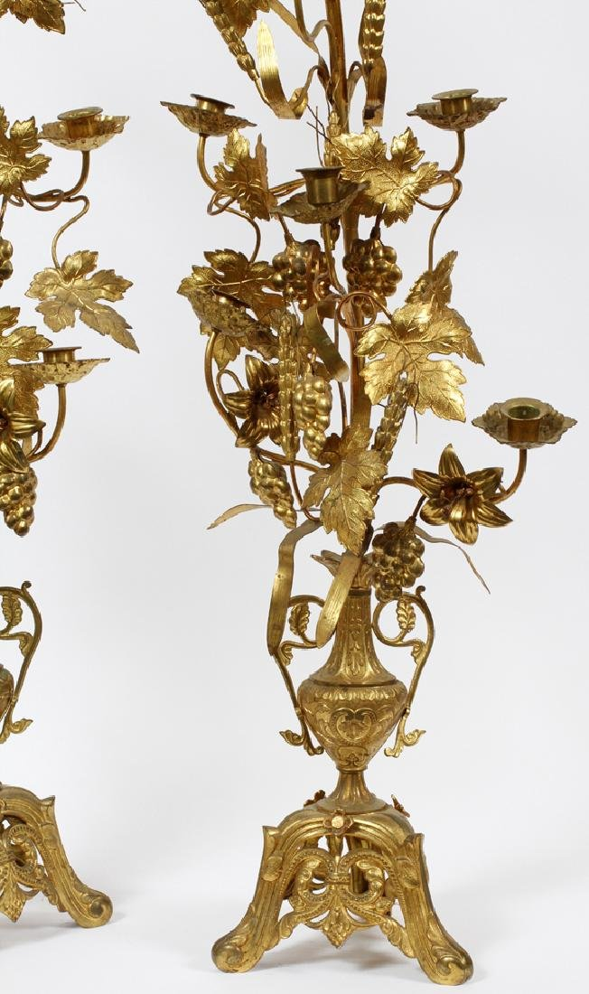 FRENCH GILT PATINATED METAL CANDLE TREES 19TH C - 2