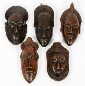 IVORY COAST CARVED WOOD MINIATURE MASKS FIVE