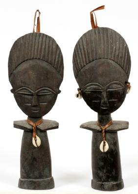 IVORY COAST CARVED WOOD FERTILITY DOLLS TWO