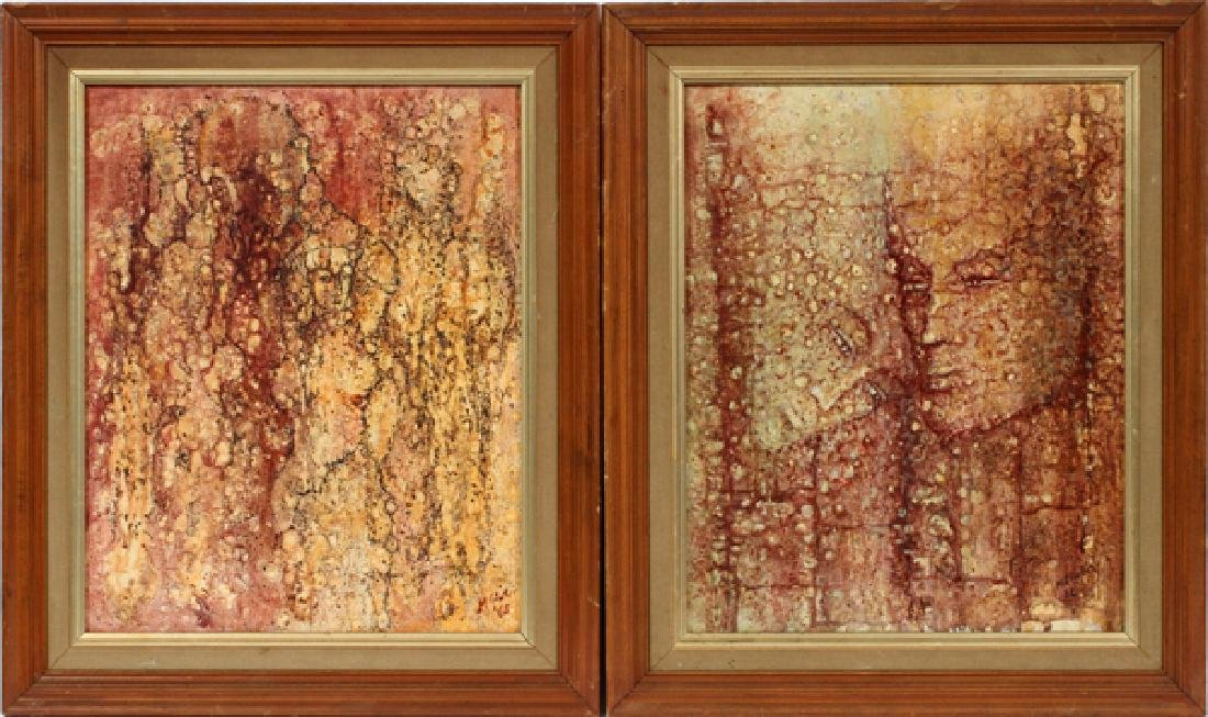 M. GINTER OIL ON BOARD C. 1960'S 2 PIECES
