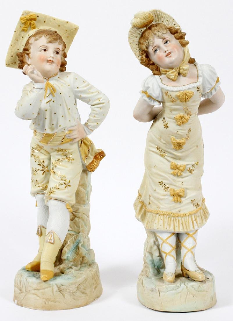 HAND PAINTED BISQUE FIGURES PAIR