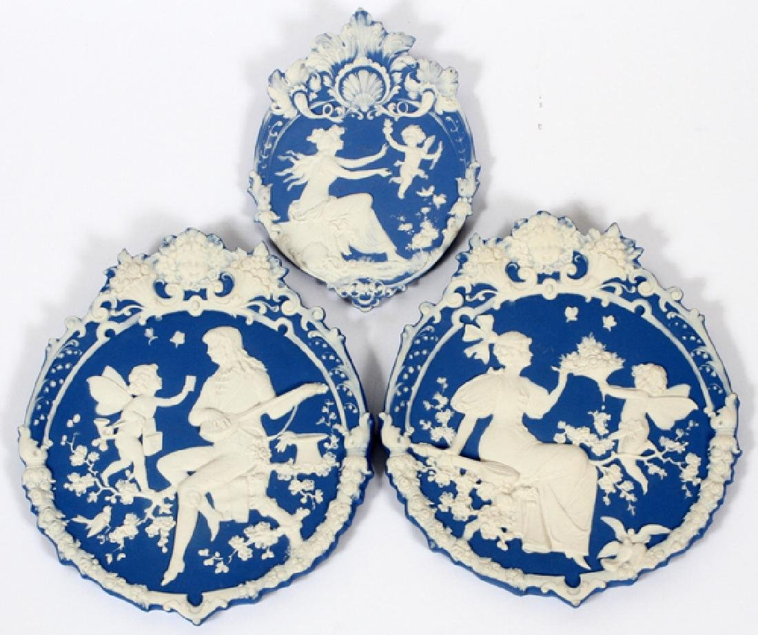 GERMAN BISQUE CAMEO PLAQUES SET OF 3
