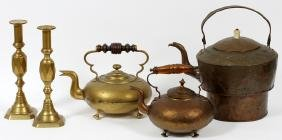 ANTIQUE BRASS & COPPER TEAPOTS+ BRASS CANDLESTICKS