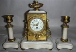 FRENCH BRONZE & MARBLE CLOCK GARNITURE C. 1880