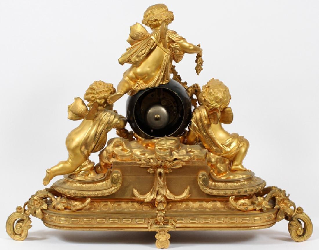 FRENCH BRONZE MANTEL CLOCK 19TH CENTURY - 4