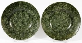 CHINESE CARVED SPINACH JADE PLATES PAIR