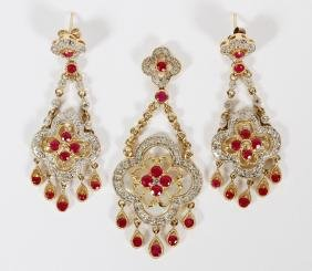 14KT RUBY MOTHER-OF-PEARL & DIAMOND SUITE