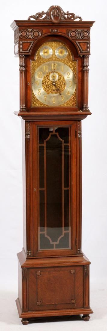 ENGLISH CARVED WALNUT GRANDFATHER CLOCK C. 1927
