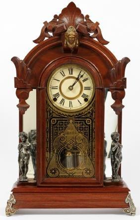ANSONIA CLOCK CO. WALNUT MANTEL CLOCK LATE 19TH C.