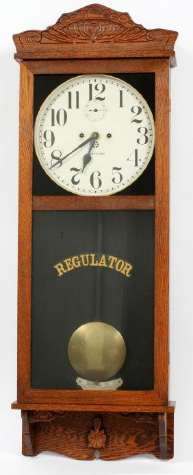 NEW HAVEN WALL REGULATOR CLOCK EARLY 20TH C.