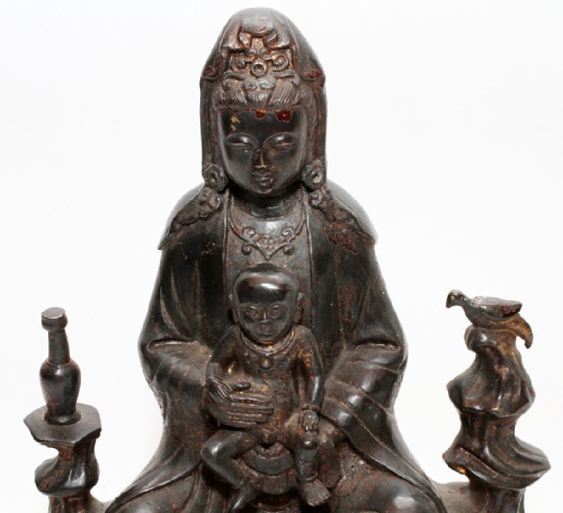 CHINESE BRONZE QUAN YIN W/ CHILD BUDDHA - 2