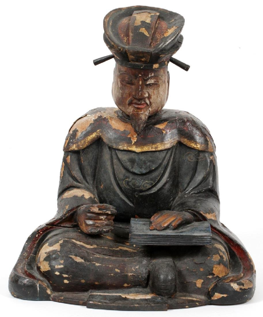 CARVED WOOD POLYCHROME SCHOLAR FIGURE 19TH C.