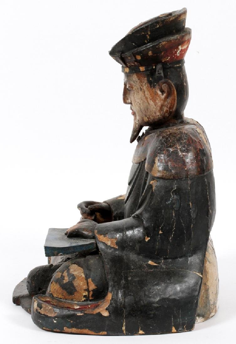 CARVED WOOD POLYCHROME SCHOLAR FIGURE 19TH C. - 2