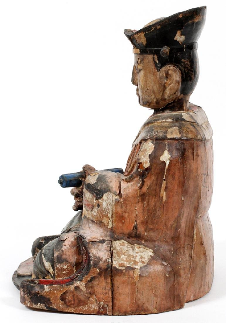 CHINESE CARVED WOOD POLYCHROME SCHOLAR FIGURE - 3