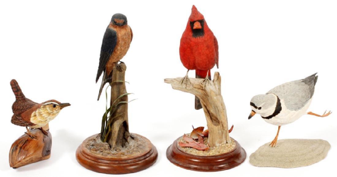 CARVED WOOD BIRD SCULPTURES 4 PIECES